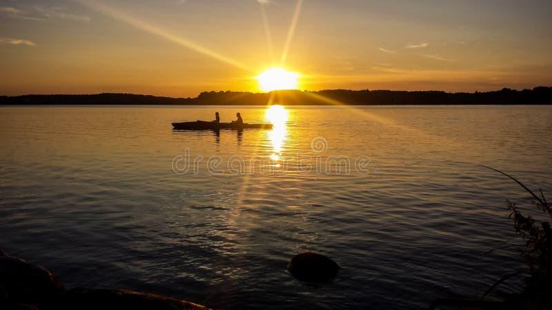 在湖Starnberger的日落看见 免版税库存照片