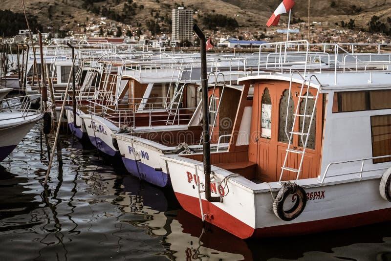 在湖Titikaka的小船 库存照片