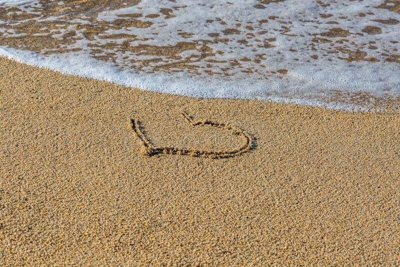 在湿沙子海滩画的心脏 一部分的心脏由波浪冲走 起点的标志或爱的结尾 免版税图库摄影