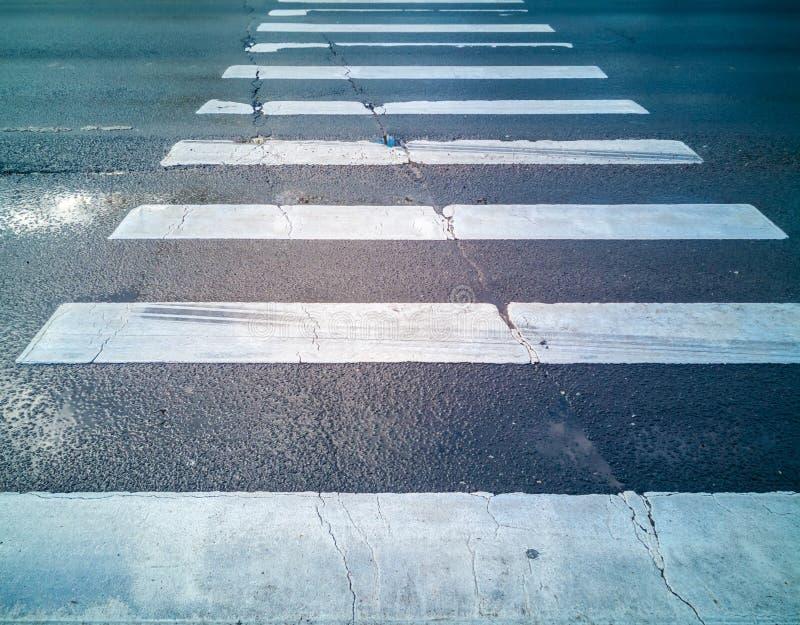 在湿沥青的行人交叉路斑马 库存图片