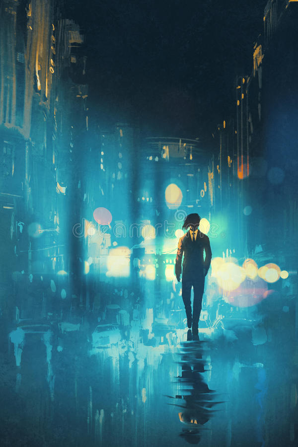 在湿街道上的晚上供以人员走 向量例证