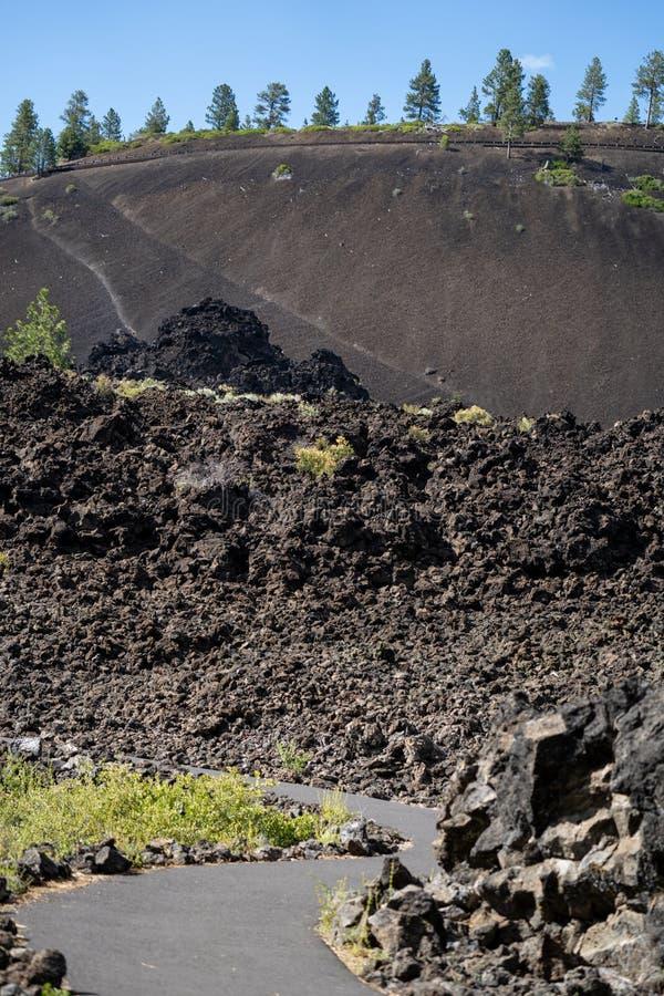 在溶解的土地足迹的供徒步旅行的小道在纽贝里火山的国家历史文物在俄勒冈 r 免版税图库摄影