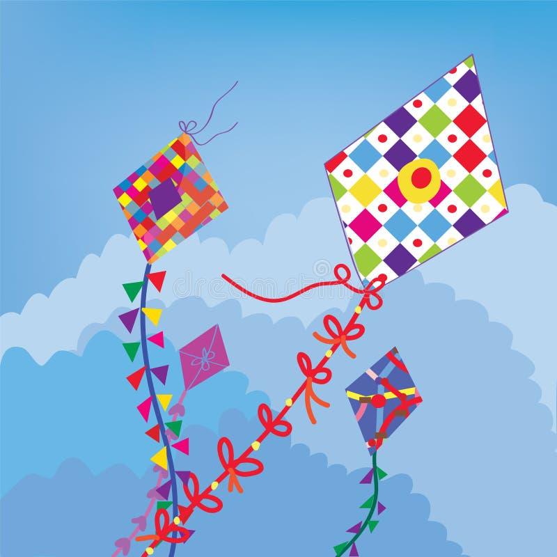 在滑稽的天空的风筝 向量例证