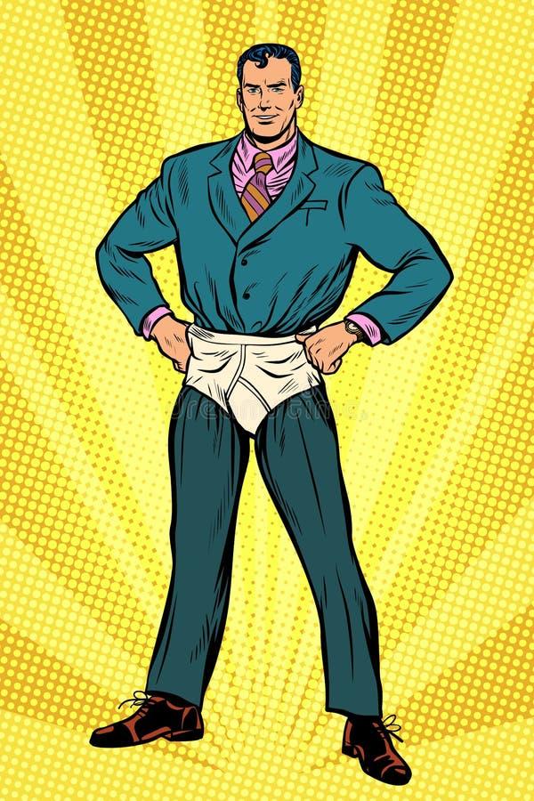在滑稽的裤子尿布的超级英雄商人 向量例证