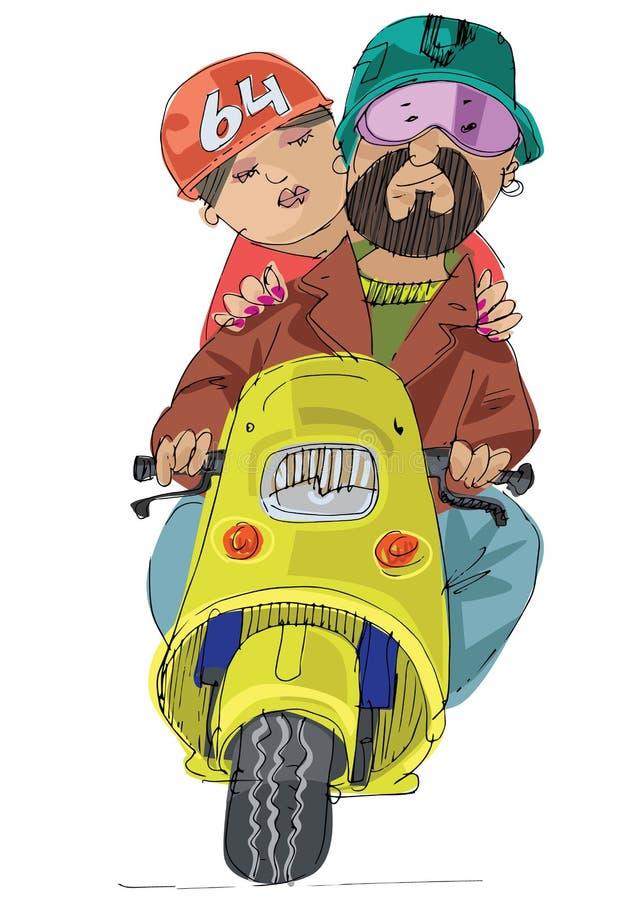 在滑行车的年轻夫妇骑马 库存例证