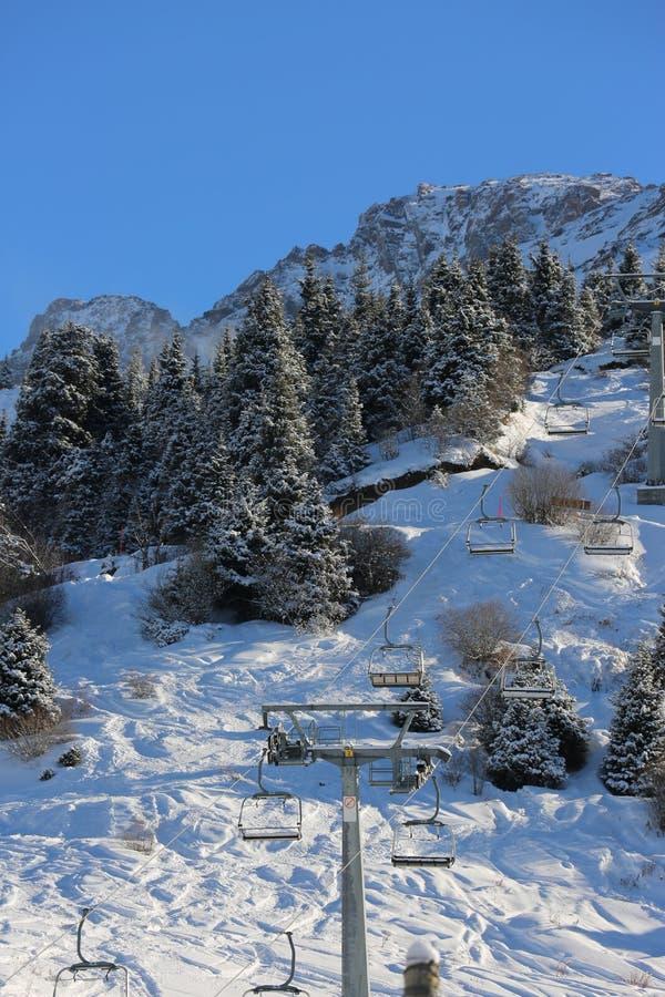 在滑雪场的电车 免版税库存图片