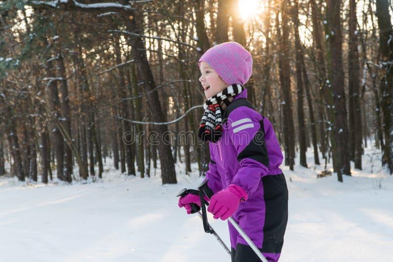 在滑雪的儿童乘驾 冬天冬天滑雪孩子的森林 免版税图库摄影