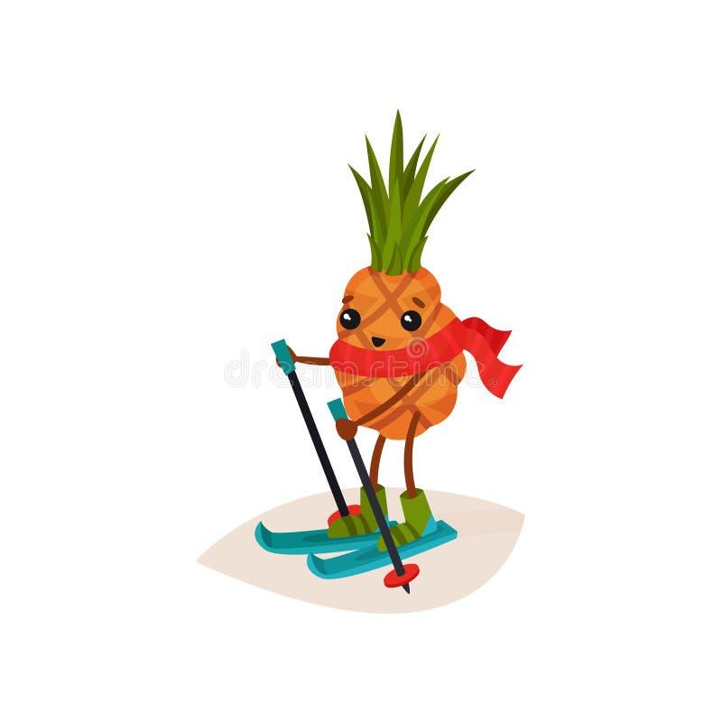在滑雪的愉快的菠萝 热带水果漫画人物在红色围巾的 体育活动 滑雪体育 平的传染媒介 向量例证