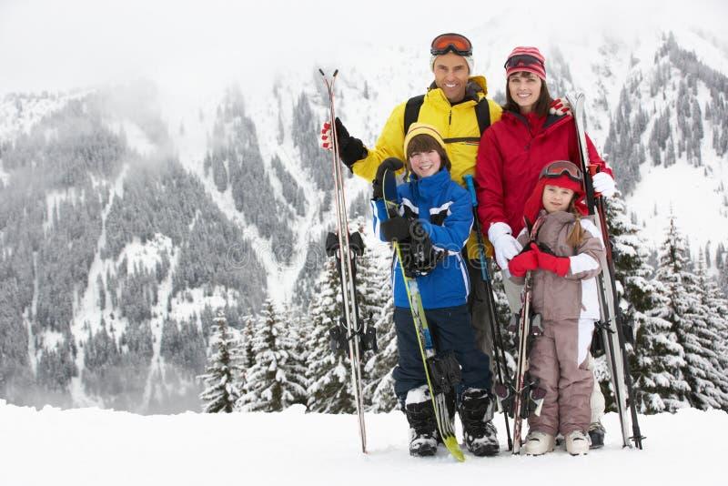 在滑雪节假日的系列在山 库存图片