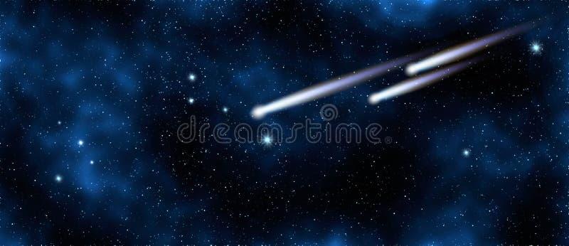 在满天星斗的天空的彗星在星系,这个图象的元素由美国航空航天局装备了 向量例证