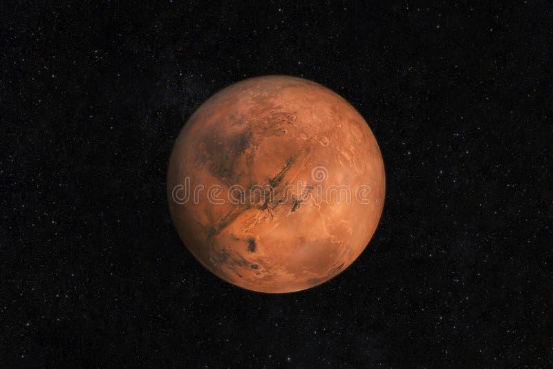 在满天星斗的天空的火星行星在空间 对新大陆的旅行毁损与星 火星的生活 库存照片