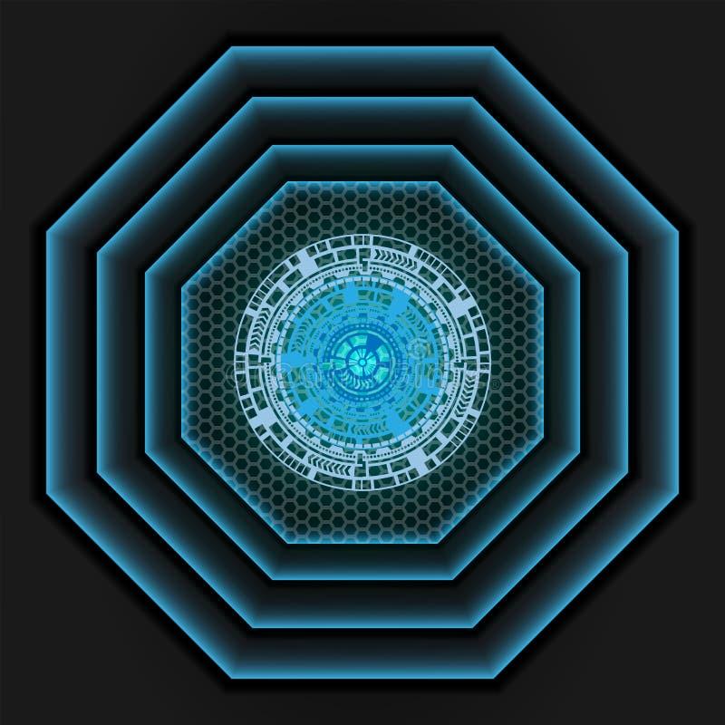 在滤网阴影的蓝色光深灰作为背景 向量例证