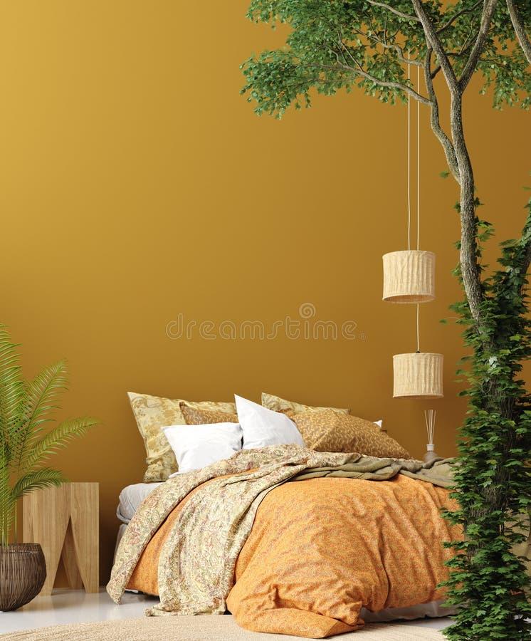 在漂泊样式的卧室内部与被仿造的床和花卉角落 库存图片