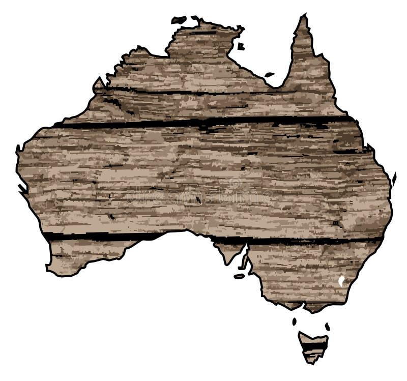 在漂流木头的澳大利亚地图 向量例证