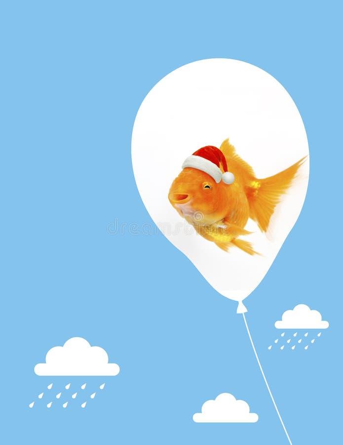 在漂浮在与云彩iillustration的天空蔚蓝的气球的圣诞老人项目金鱼 库存例证