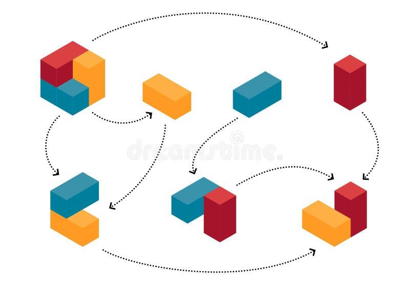 在演变的进展的抽象五颜六色的立方体 皇族释放例证