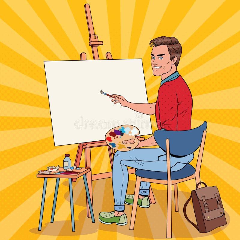 在演播室的流行艺术男性艺术家绘画 人画家在车间 向量例证