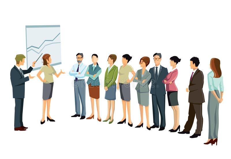 在演讲或研讨会的企业队 向量例证