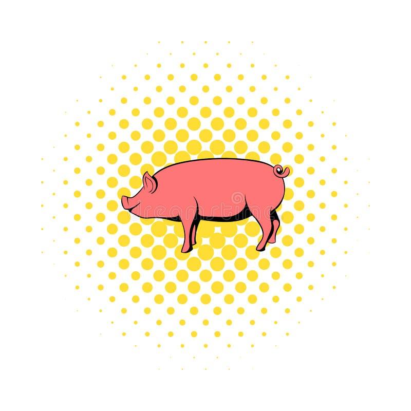 在漫画样式的猪象 库存例证