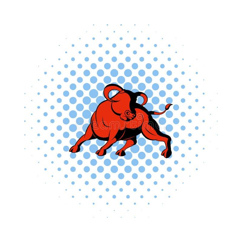 在漫画样式的公牛象 库存例证