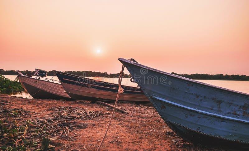 在潘塔纳尔湿地停住的老小船美妙的风景,巴西 免版税库存照片