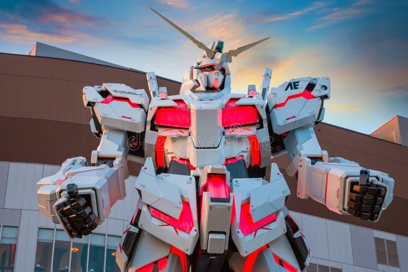 在潜水者城市东京广场的大型流动衣服RX-0独角兽Gundam在东京,日本 免版税图库摄影