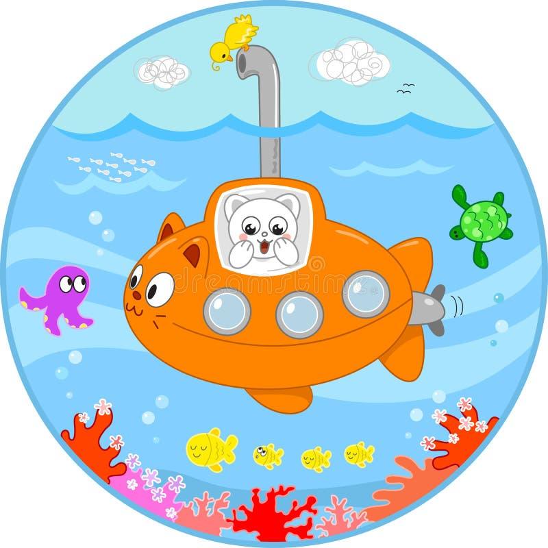 在潜水艇的逗人喜爱的猫在水之下 皇族释放例证