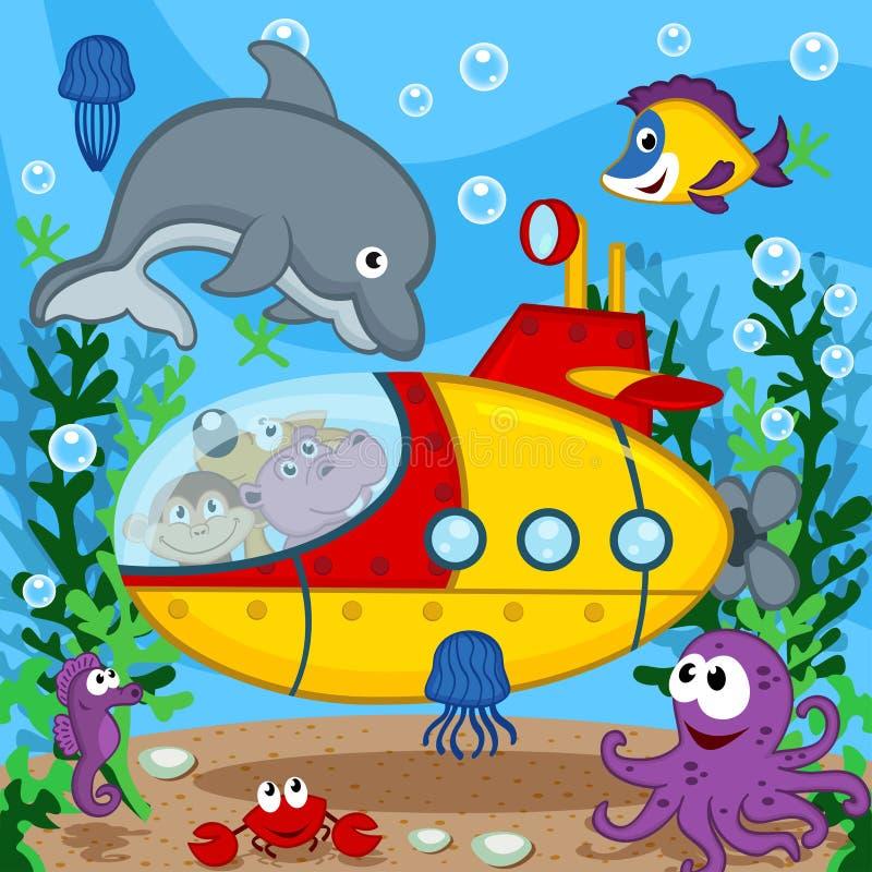 在潜水艇的动物 库存例证