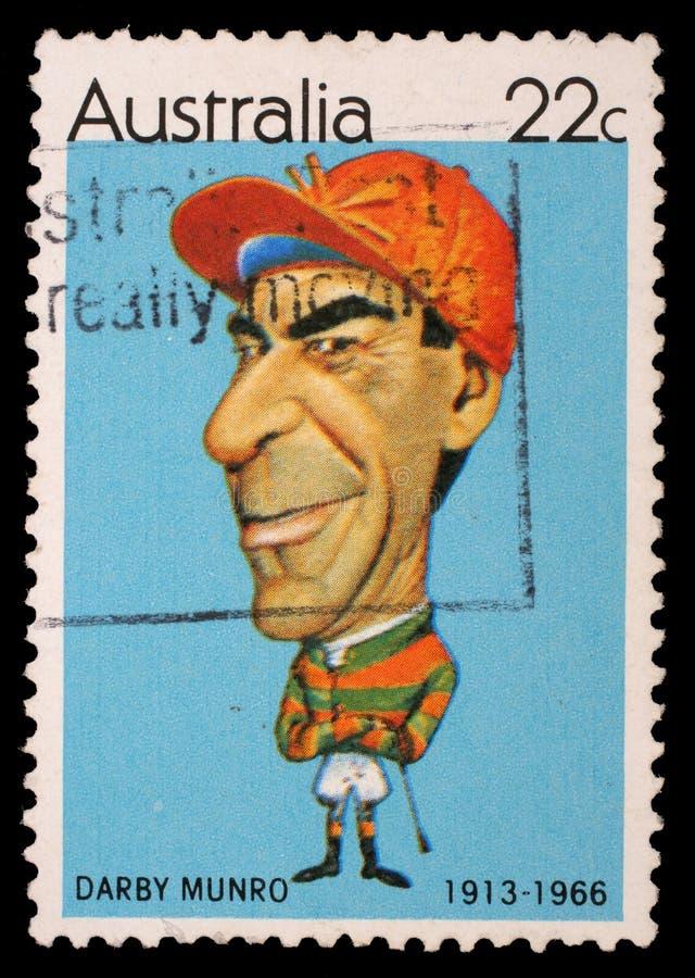 在澳大利亚打印的邮票显示澳大利亚运动员骑师达比Munro 库存图片