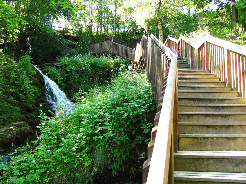 在瀑布附近的木楼梯 免版税库存图片