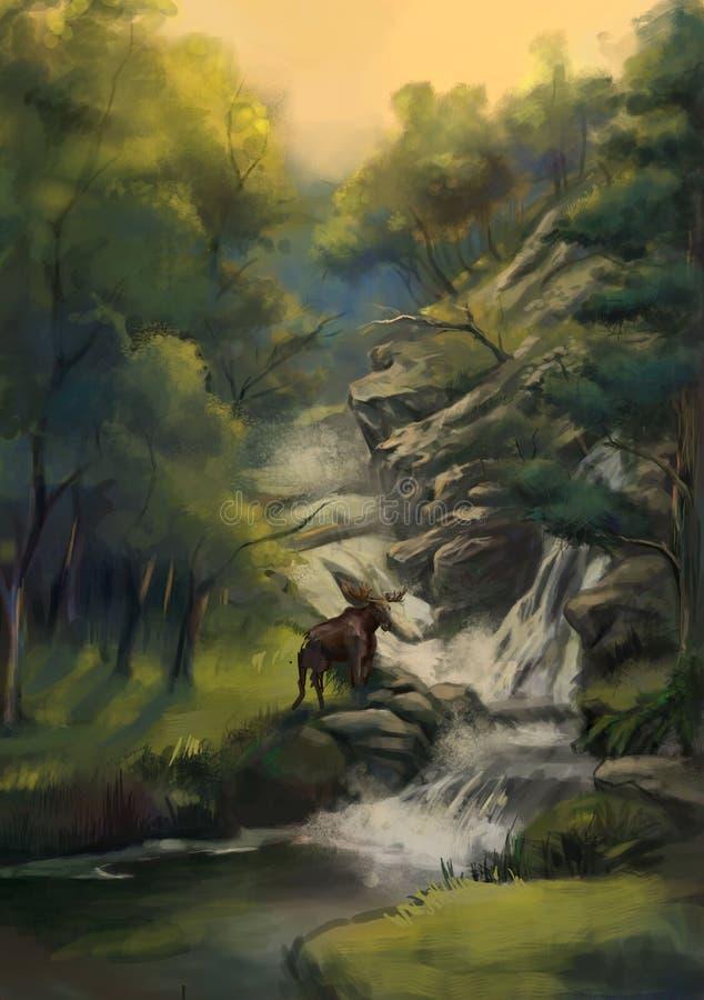 在瀑布附近的森林鹿 库存例证