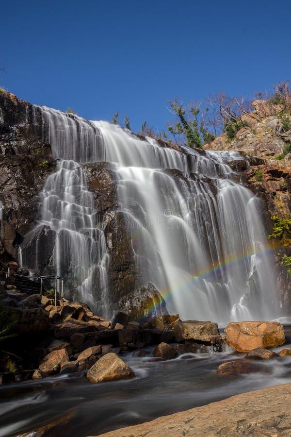 在瀑布,麦肯齐前面的彩虹落,Grampians,澳大利亚 免版税图库摄影