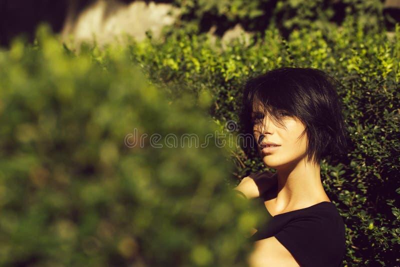 在灌木的俏丽的女孩姿势 库存照片