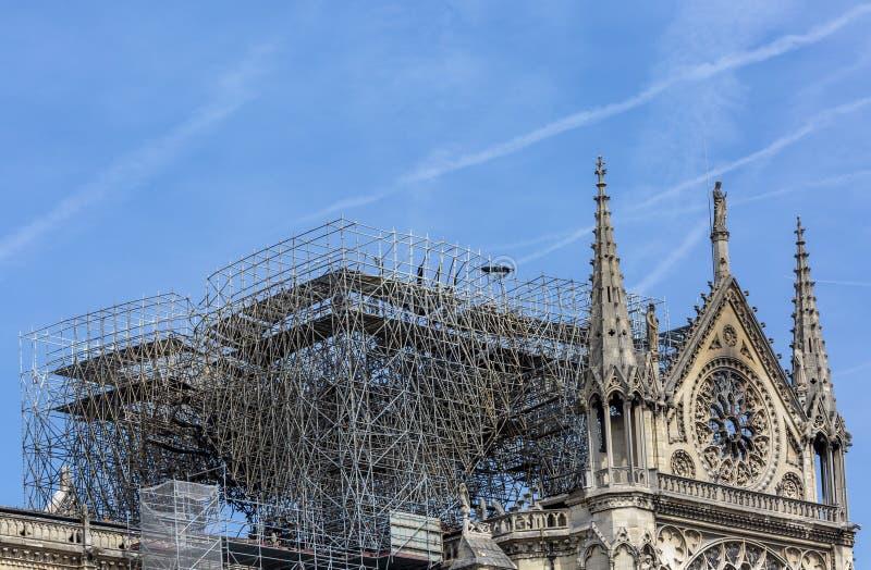 在火以后的巴黎圣母院大教堂2019年4月15日 免版税库存图片