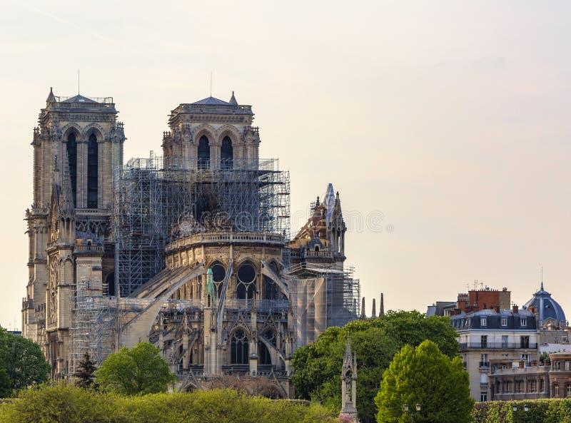 在火以后的巴黎圣母院大教堂2019年4月15日 库存图片