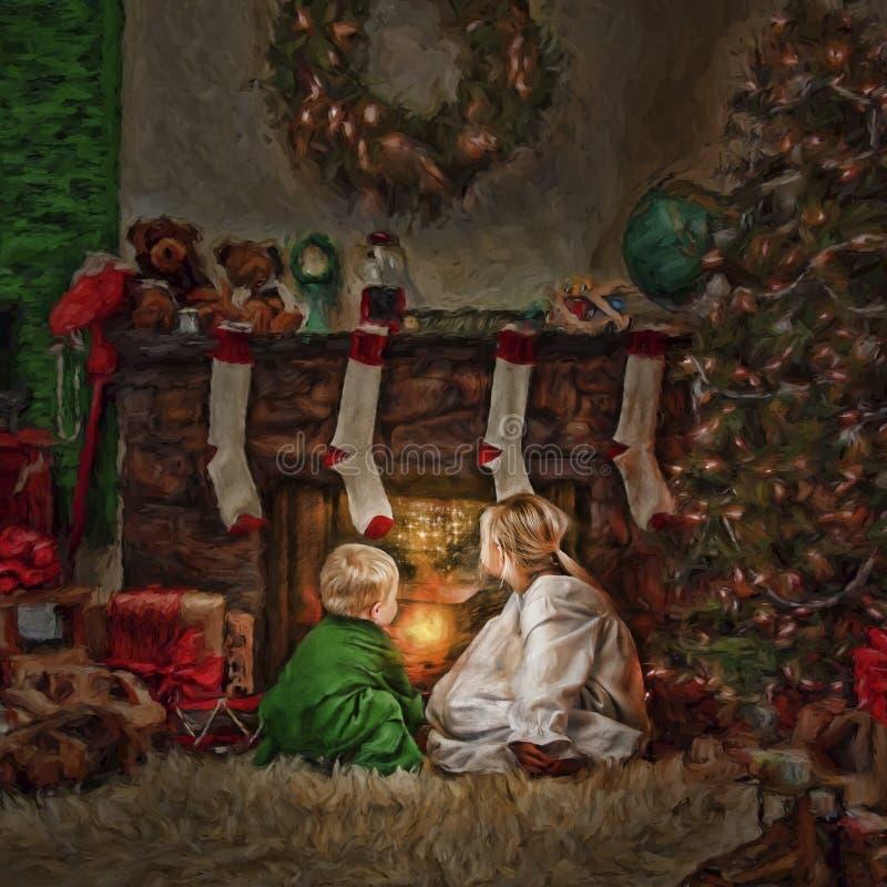 在火前面的孩子在圣诞节 免版税图库摄影