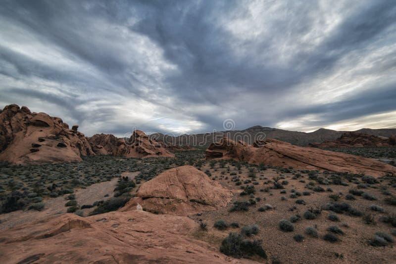 在火国家公园的谷的风景 免版税库存照片