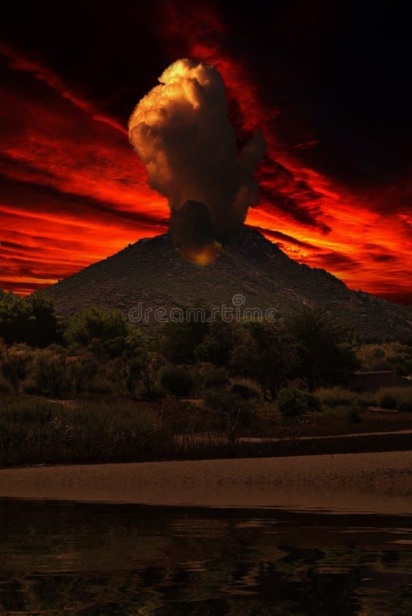 在火山的烟 向量例证