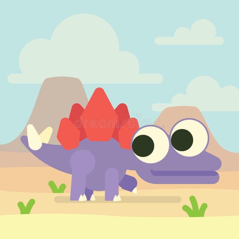 在火山的谷的逗人喜爱的剑龙 恐龙生活 史前字符的传染媒介例证在平的动画片的 向量例证