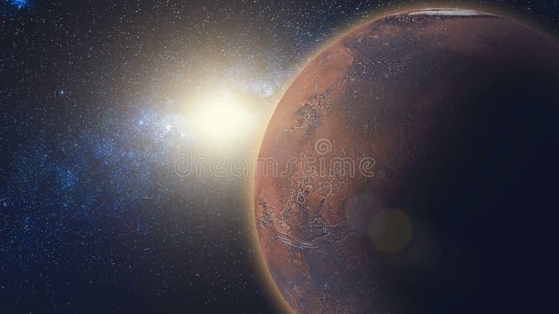 在火星的日出视图在太阳从空间放光 库存图片