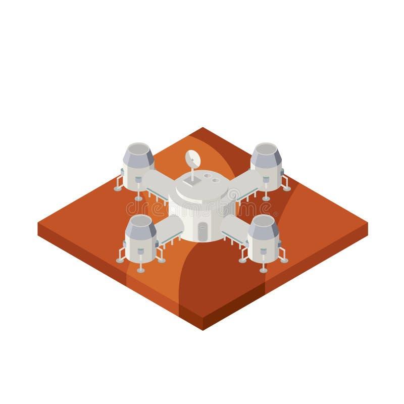在火星的空间基地 皇族释放例证