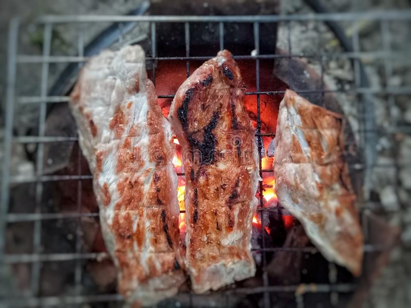 在火炉的烤猪肉 库存照片