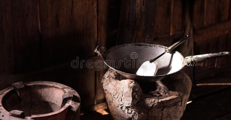 在火炉的空的平底锅 免版税库存照片