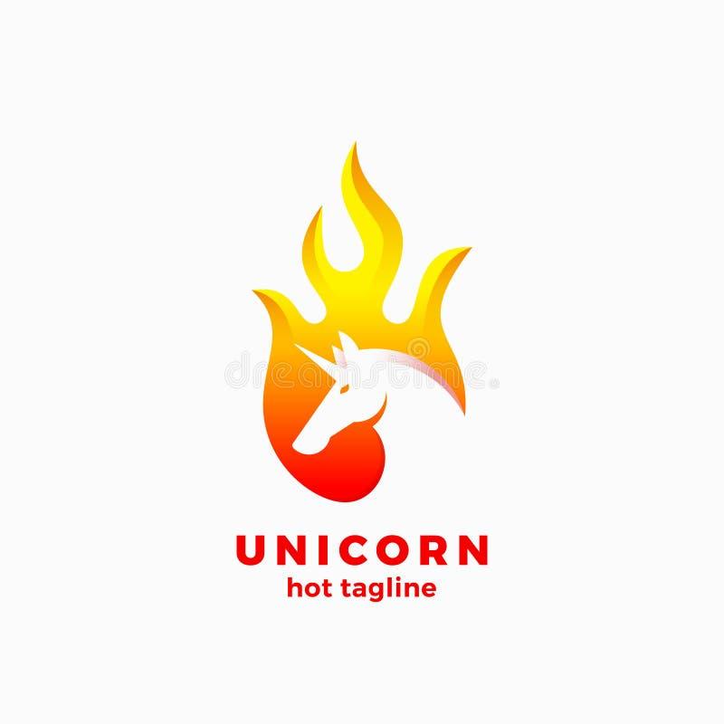 在火焰形状抽象传染媒介标志、标志或者商标模板的独角兽 与现代的消极空间独角兽Sillhouette 皇族释放例证