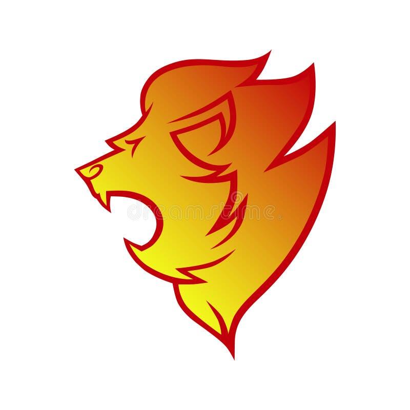 在火焰标志,象的狮子头 库存例证