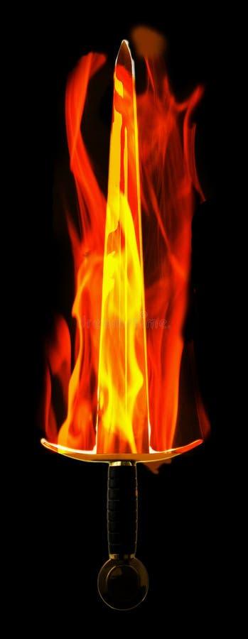 在火焰的剑 免版税图库摄影
