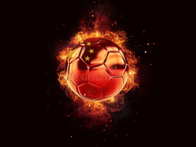 在火焰的橄榄球与瓷旗子  库存例证