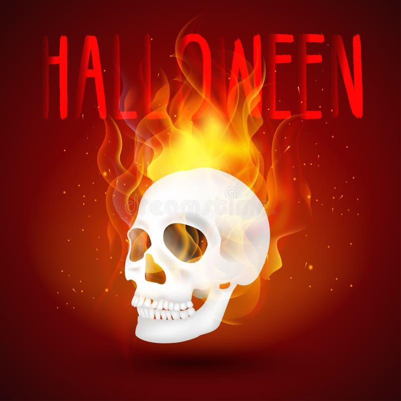 在火的万圣夜背景人的头骨 库存例证