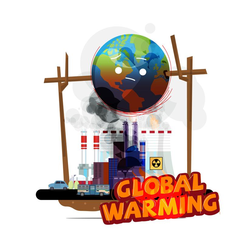 在火的世界地球从地球工厂和人 全球性变暖概念-传染媒介例证 皇族释放例证