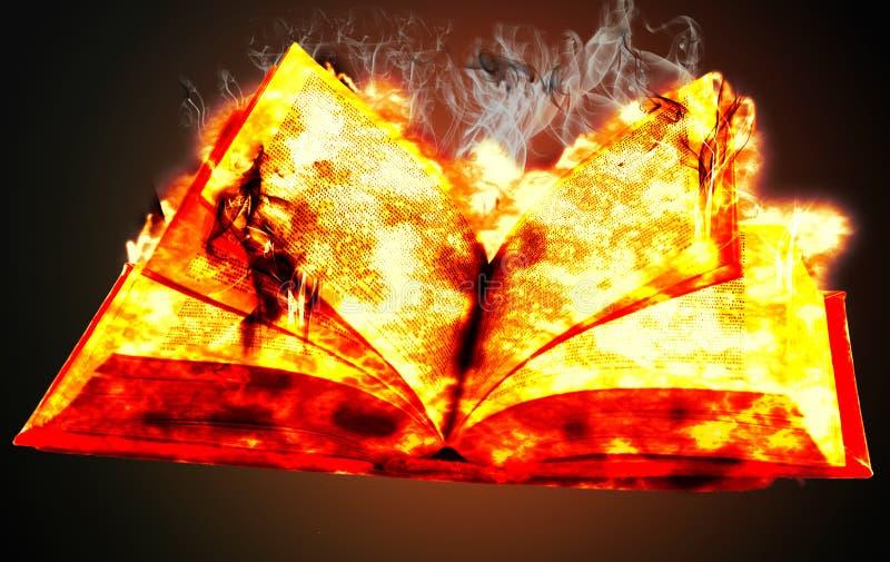 在火的书 免版税库存图片